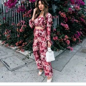 Zara Floral Blouse and Trouser Set